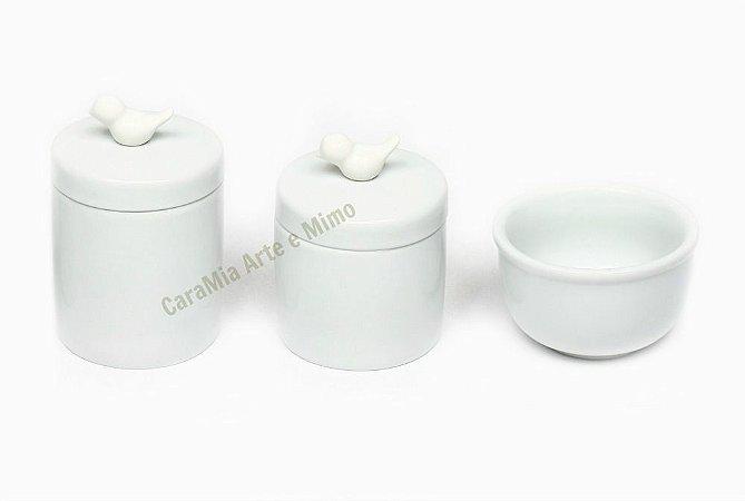 Kit Higiene Bebê Porcelana|Mini Pássaro | 3 Peças |