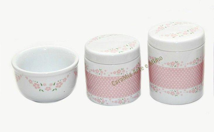 Kit Higiene Bebê Porcelana | Petit Poá e Florzinha Rosa| 3 Peças