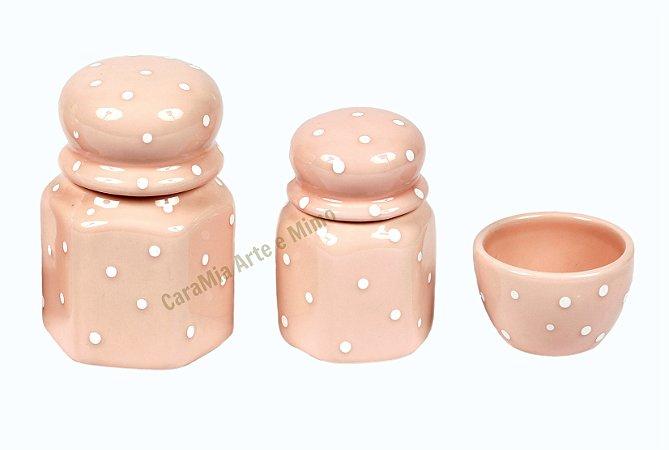 Kit Higiene Bebê Cerâmica | Rosa Antigo com Poá | 3 Peças |