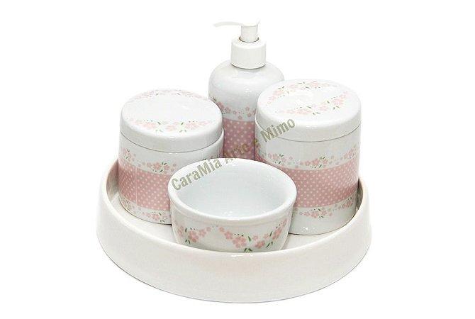 Kit Higiene Bebê Porcelana + Bandeja em Cerâmica off-white | Petit Poá com Flores | 5 Peças