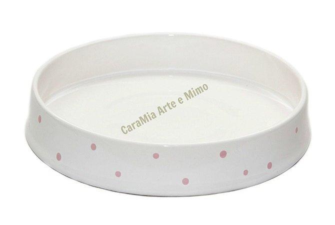 Bandeja Cerâmica off-white com Poá Rosa