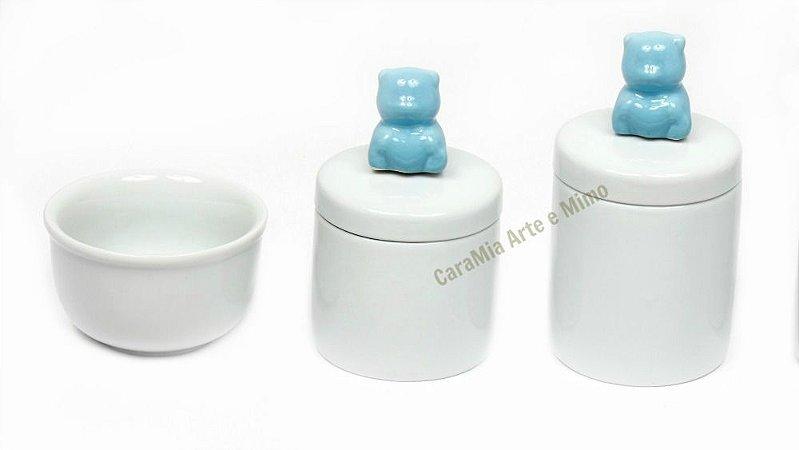 Kit Higiene Bebê em Porcelana | Ursinho Azul de Gravatinha| 3 Peças |