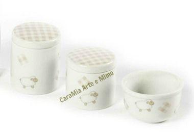 Kit Higiene Bebê Porcelana | Carneirinho Bege com Xadrez| 3 Peças |