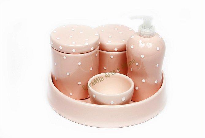 Kit Higiene Bebê Cerâmica | Rosa Antigo Com Poá Branco| 5 Peças |