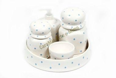 Kit Higiene Bebê em Cerâmica  Branquinho com Poá Azul + Bandeja Redonda    5 Peças  