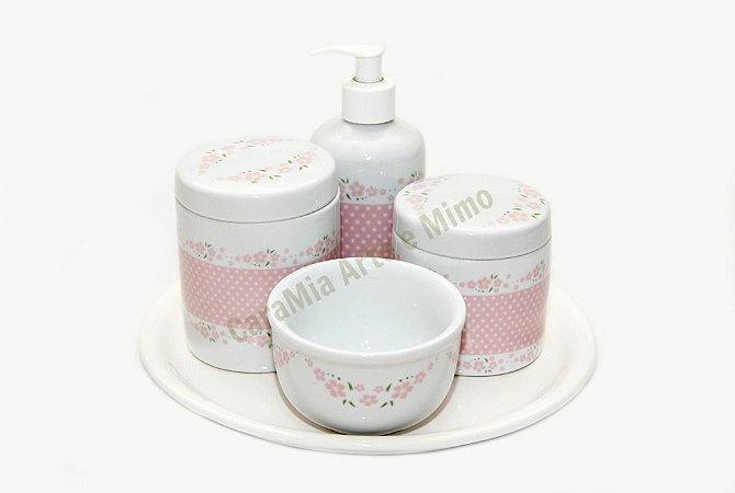 Kit Higiene Bebê Porcelana | Petit Poá Rosa + Bandeja Redonda Cerâmica