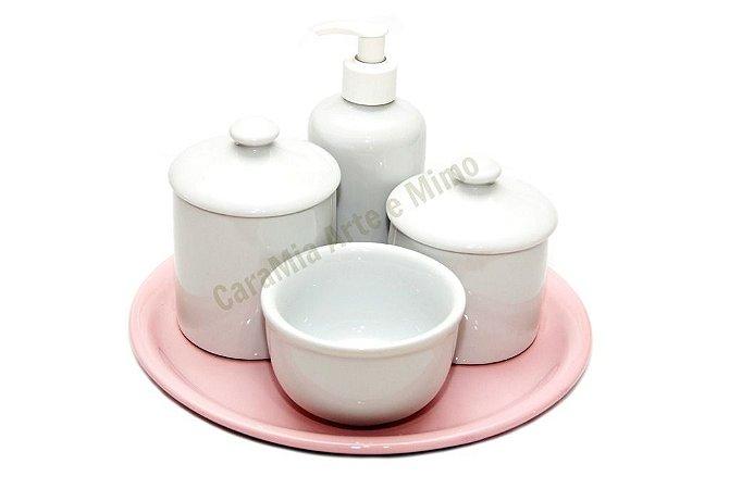 Kit Higiene Bebê | Branquinho com Puxador + Bandeja Redonda Lisa Rosinha | 5 Peças |
