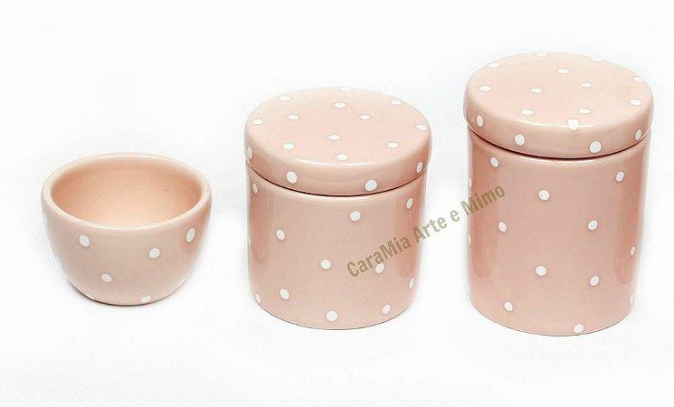 Kit Higiene Bebê Cerâmica | Rosa Antigo com Poá Branquinho| 3 Peças |