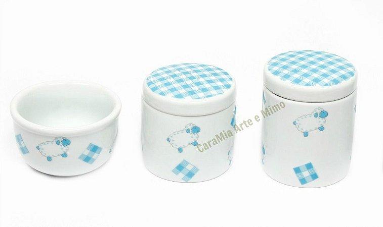 Kit Higiene Bebê Porcelana | Ovelha / Carneirinho Azul| 3 Peças
