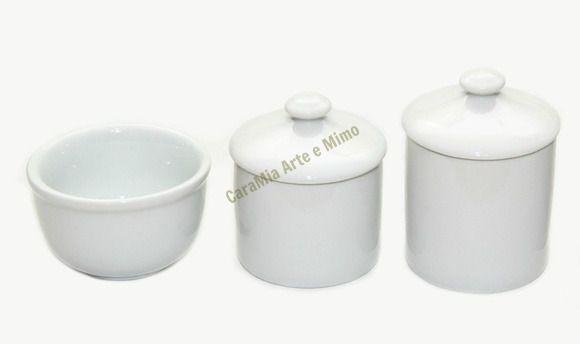 Kit Higiene Bebê Porcelana - Branquinho com Puxador- 3 peças