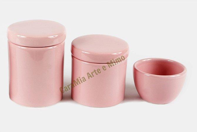Kit Higiene Bebê Cerâmica | 3 peças| Rosa Bebê Liso