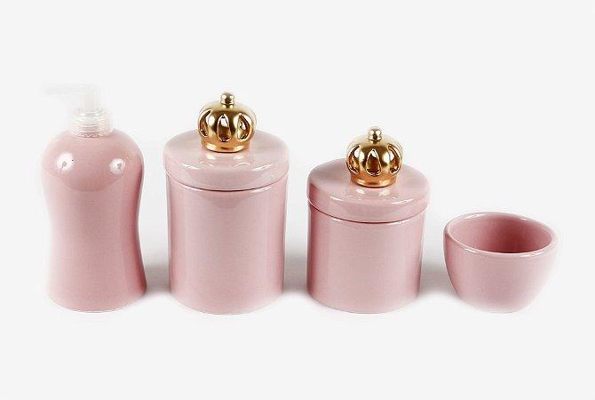 Kit Higiene Bebê Cerâmica Rosa Bebê | 4 peças| Apliques de Coroa Dourada