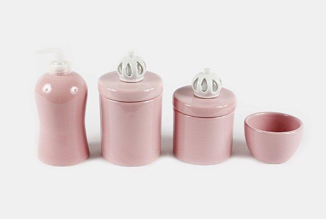Kit Higiene Bebê Cerâmica | 4 peças| Apliques de Coroas Branquinhas