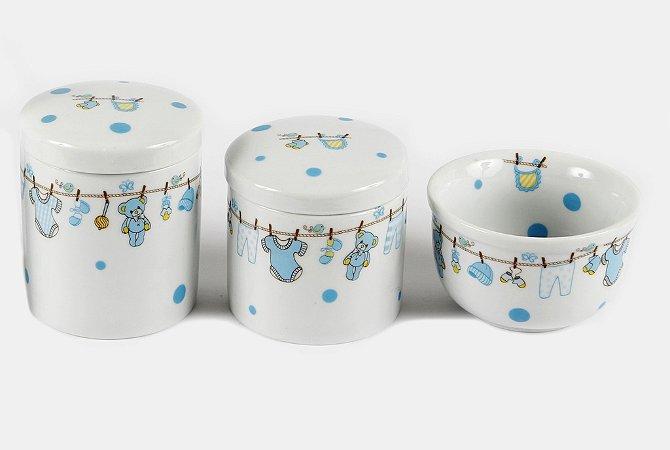 Kit Higiene Bebê Porcelana   3 peças  Varalzinho Azul com Poá 