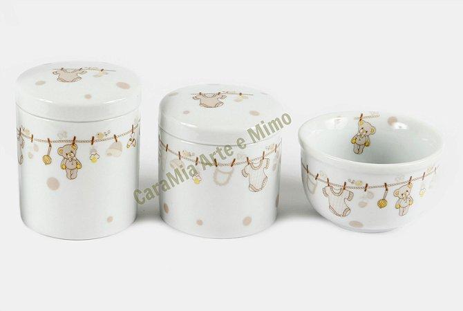 Kit Higiene Bebê Porcelana | 3 peças| Varal Beginho