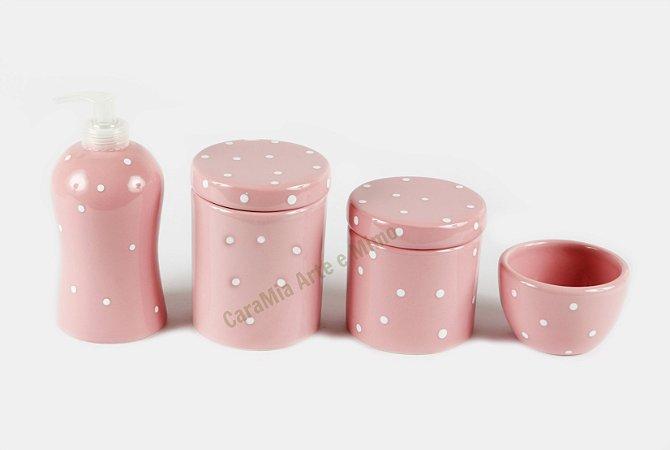 Kit Higiene Bebê Cerâmica| 4 peças| Rosa Bebê com Poá