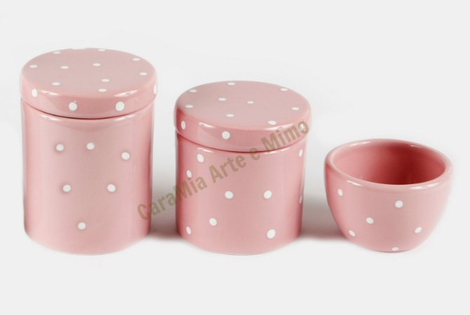 Kit Higiene Bebê em Cerâmica | Rosa Bebê com Poá Branco| 3 Peças |