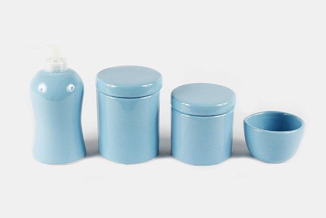 LIQUIDAÇÃO Kit Higiene Cerâmica Azul Bebê Liso | 4 peças|