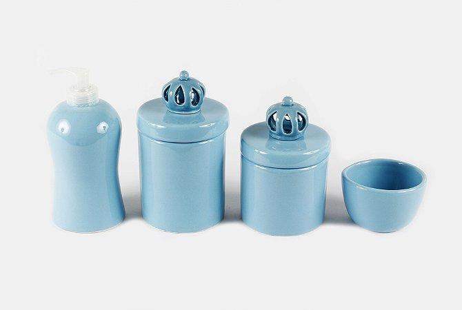 Kit Higiene Bebê Cerâmica | 4 peças| Azul Bebê com Aplique De Coroa Azul