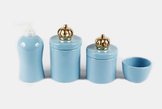 Kit Higiene Bebê Cerâmica | Um Reinado Azul Bebê| 4 Peças |