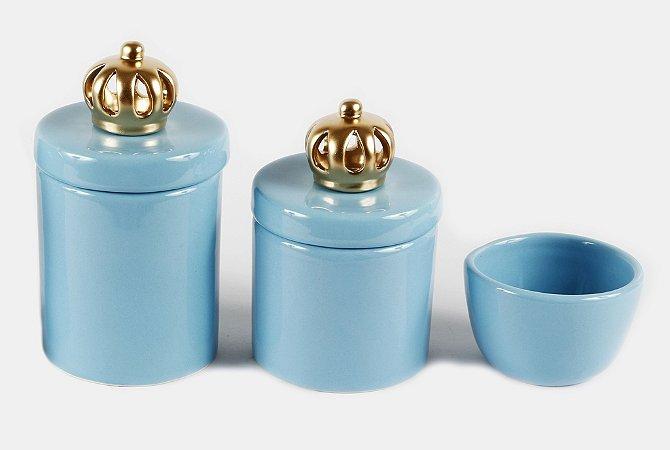 Kit Higiene Bebê Cerâmica | 3 peças| Azul Bebê com Apliques de Coroas Douradas