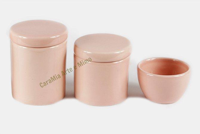 Kit Higiene Bebê Cerâmica | 3 peças| Rosa Antigo Liso