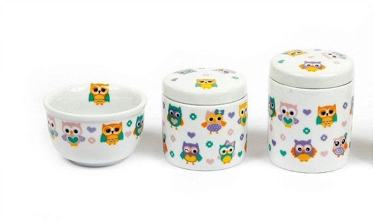 Kit Higiene Bebê Porcelana | 3 peças| Corujinhas