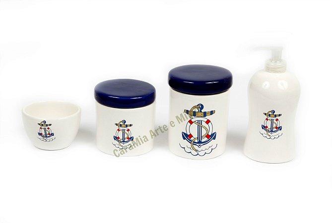 LIQUIDAÇÃO Kit Higiene Bebê Cerâmica | 4 peças| Meu Bebê Marinheiro