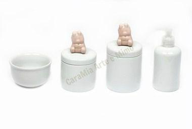 Kit Higiene Bebê Porcelana| Ursinha Rosa Antigo| 4 peças