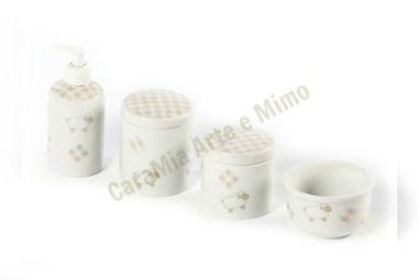 Kit Higiene Bebê Porcelana |Ovelha Bege | 4 Peças |