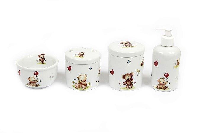 Kit Higiene Bebê Porcelana| Ursos Fofinhos|  4 peças