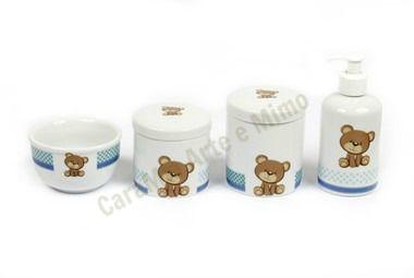 Kit Higiene Bebê Porcelana |Ursos com Faixa Azul | 4 Peças |