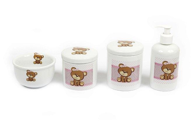 Kit Higiene Bebê Porcelana | Ursa com Faixa Rosa | 4 Peças |
