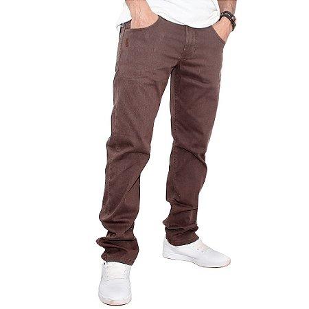 Calça Simple Skate Elastano Marrom Tecido Plus
