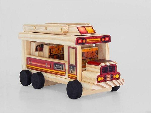 Toy Arte - Carro de bombeiro de madeira