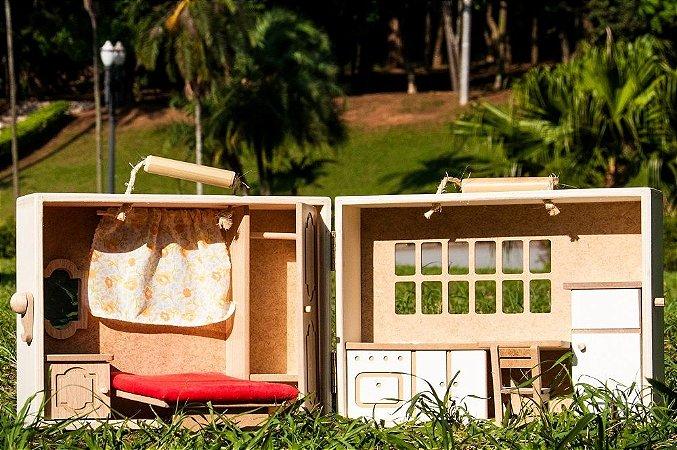 Casa Maleta Pequena de madeira