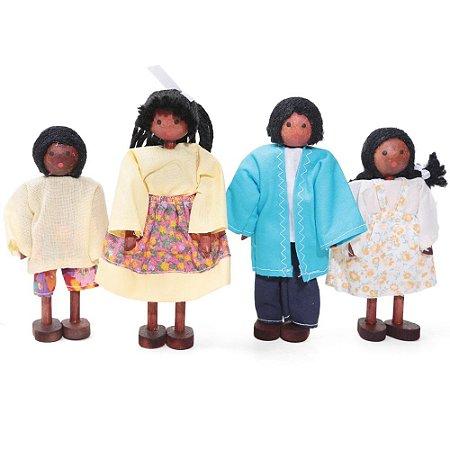 Bonecos de madeira (Kit Família Negra)