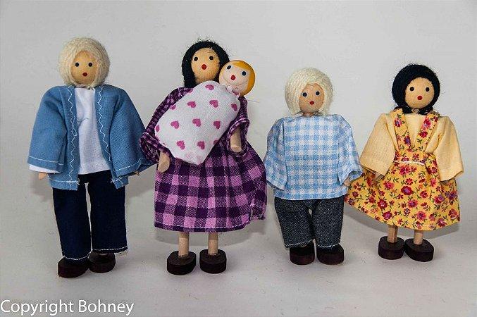 Bonecos de madeira (Kit família com bebê)