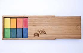 Blocos de giz de cera de abelha (16 cores sortidas) Caixa de Bambu