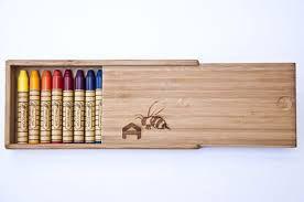 Caixa de giz (16 bastões de giz de cera sortidos) Caixa de Bambu