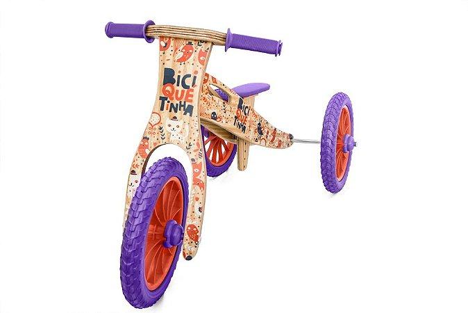 Triciclo 2 em 1 Biciquetinha Animais (Bicicleta de equilíbrio)
