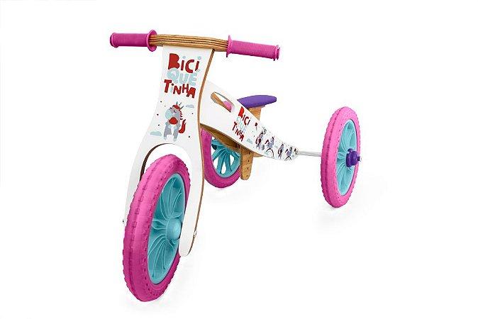 Triciclo 2 em 1 Biciquetinha Unicornio (Bicicleta de equilíbrio)