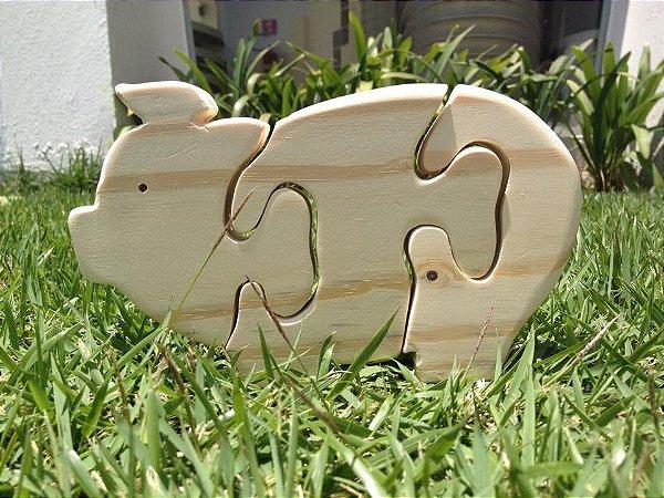 Quebra cabeça de madeira - Porco