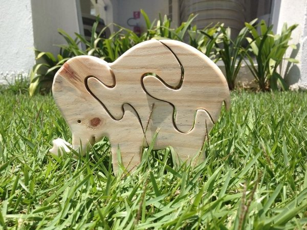 Quebra cabeça de madeira - Elefante