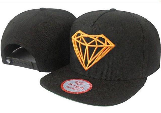 Boné Diamond Supply Preto e Laranja