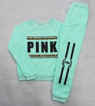 Conjunto Moletom Verde Agua - Pink Leo