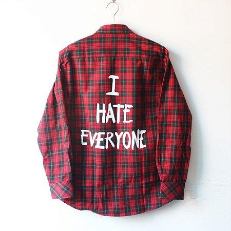 Camisa Xadrez I HATE EVERYONE Vermelha