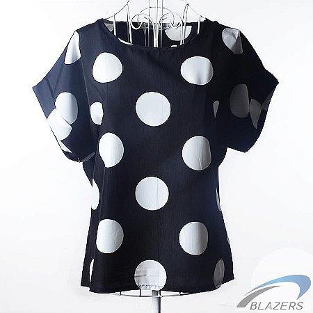 Camiseta Azul Feminina Pattern Bolinhas