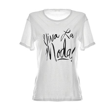 Camiseta Feminina Branca Viva La Moda !