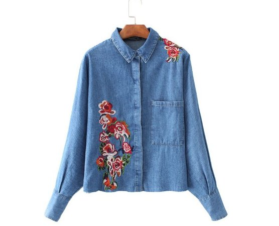 Camiseta Jeans Feminina Floral